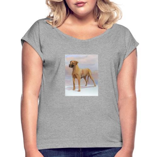 Great Dane Yellow - Dame T-shirt med rulleærmer