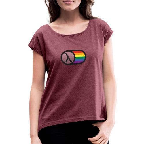 Lambda Regnbuelogo - Dame T-shirt med rulleærmer