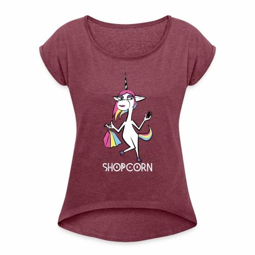 ShopCorn - Frauen T-Shirt mit gerollten Ärmeln