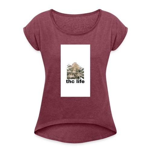 THCE LIFE - Camiseta con manga enrollada mujer