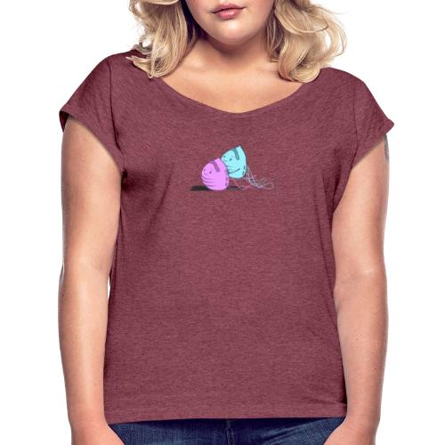 Maskenpaar - Frauen T-Shirt mit gerollten Ärmeln