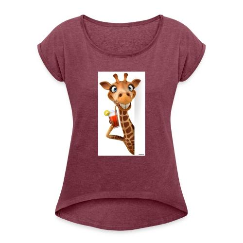Giraffe - Frauen T-Shirt mit gerollten Ärmeln
