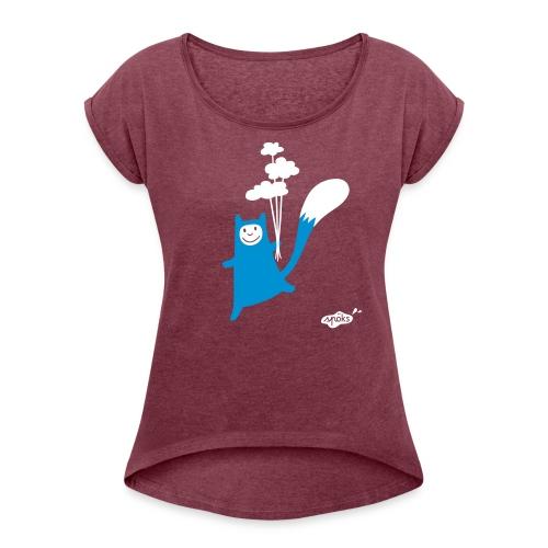 Katzling Kuno Dunkelgrund - Frauen T-Shirt mit gerollten Ärmeln