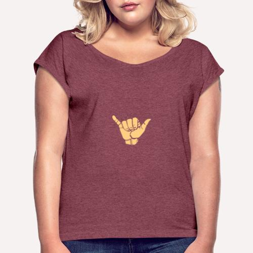 Good Vibes Print Design Hand Sign On Demand - Women's T-Shirt with rolled up sleeves