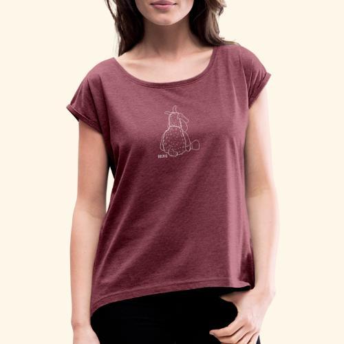 Schafbock: Bockig - weiß - Frauen T-Shirt mit gerollten Ärmeln