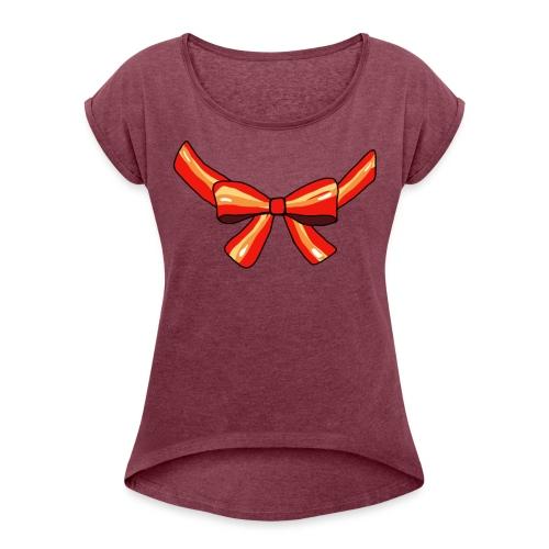 Schleife rot - Frauen T-Shirt mit gerollten Ärmeln