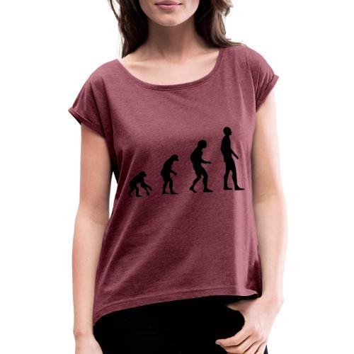 Du singe a l'homme - T-shirt à manches retroussées Femme
