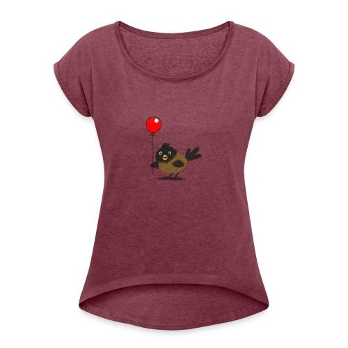 vogeltje met ballon - Vrouwen T-shirt met opgerolde mouwen