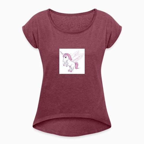 Petite licorne rose super mignonne!! - T-shirt à manches retroussées Femme