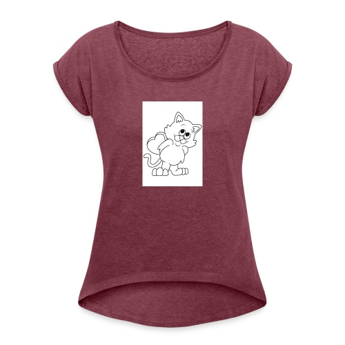 La Le Petit filon chat - T-shirt à manches retroussées Femme