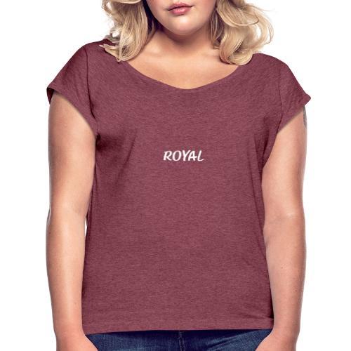 Royal blanc - T-shirt à manches retroussées Femme