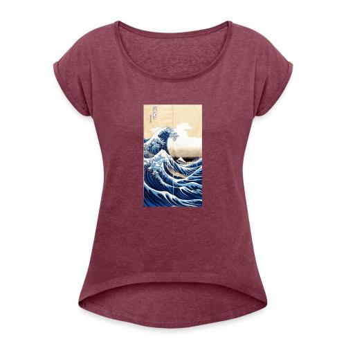 La grande vague de Kanagawa - T-shirt à manches retroussées Femme
