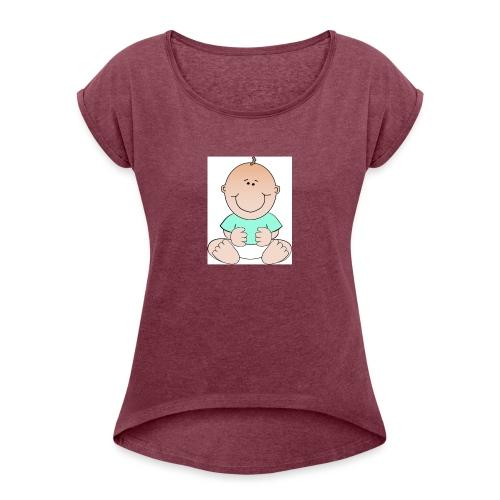 rompertje baby jongen - Vrouwen T-shirt met opgerolde mouwen