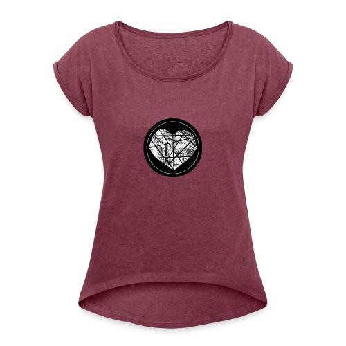 Logo Herzenszeit Neu - Frauen T-Shirt mit gerollten Ärmeln