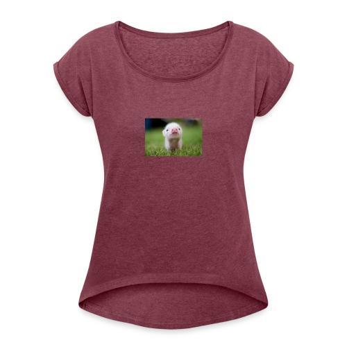 2F0AA1E3 DA7E 4EE9 A28D B7D644B1803C - T-skjorte med rulleermer for kvinner