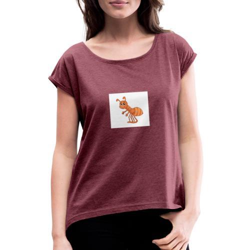 T-Shirts und Blusen mit Ameise - Frauen T-Shirt mit gerollten Ärmeln