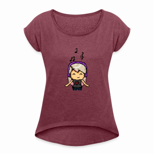 Carina Musik pixel - Frauen T-Shirt mit gerollten Ärmeln