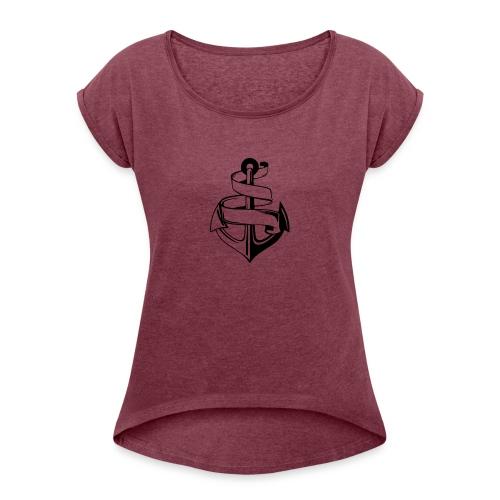 Ankare. - T-shirt med upprullade ärmar dam