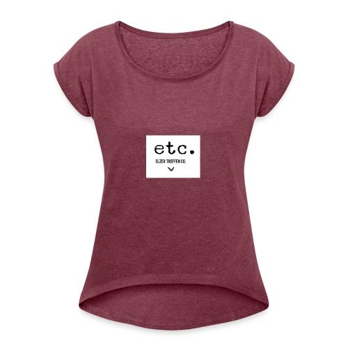 ELZER TREFFEN ETC black - Frauen T-Shirt mit gerollten Ärmeln