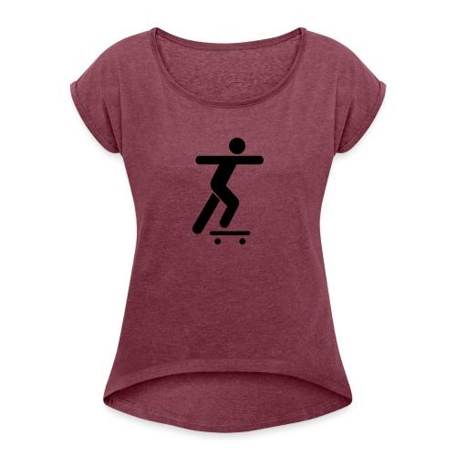 Skater - Frauen T-Shirt mit gerollten Ärmeln