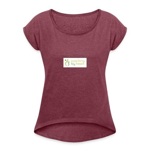 CBH logo coaching by heart tekst - T-skjorte med rulleermer for kvinner