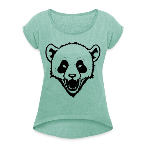 Panda - Frauen T-Shirt mit gerollten Ärmeln