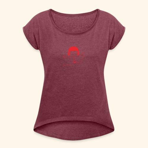 logo happy - T-shirt à manches retroussées Femme