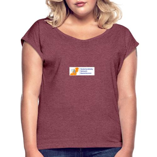 Nederlandstalig netwerk basisinkomen - Vrouwen T-shirt met opgerolde mouwen