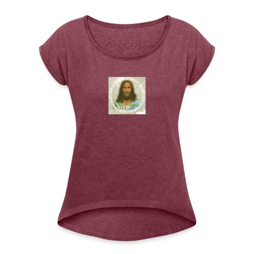ROSTRO DE JESUS CON CODIGOS SAGRADOS - Camiseta con manga enrollada mujer