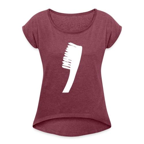 diggaladen gegeng20 zahnbuerste freigestellt SW - Frauen T-Shirt mit gerollten Ärmeln