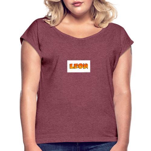 Leon merch - T-shirt med upprullade ärmar dam