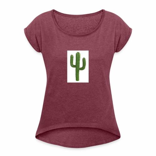 grune kaktus - Frauen T-Shirt mit gerollten Ärmeln