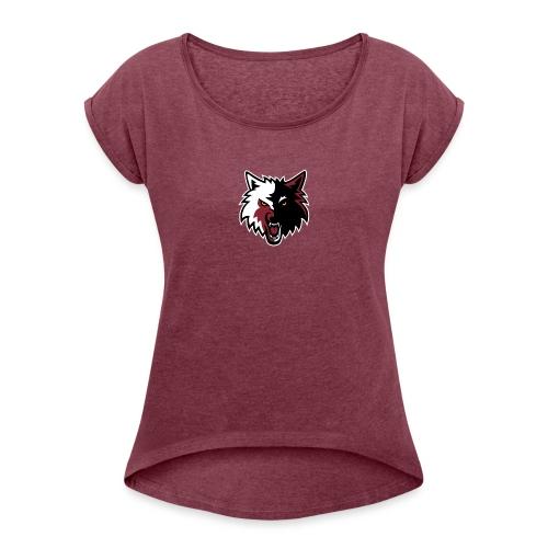 Wolves logo - Frauen T-Shirt mit gerollten Ärmeln