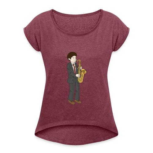 Saxofonist - T-skjorte med rulleermer for kvinner