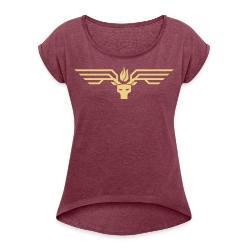 hirschburner Logo - Frauen T-Shirt mit gerollten Ärmeln