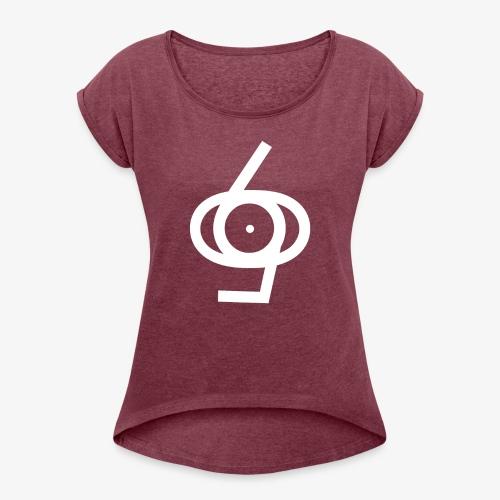 Sixtyfiveo Schriftzug - Frauen T-Shirt mit gerollten Ärmeln