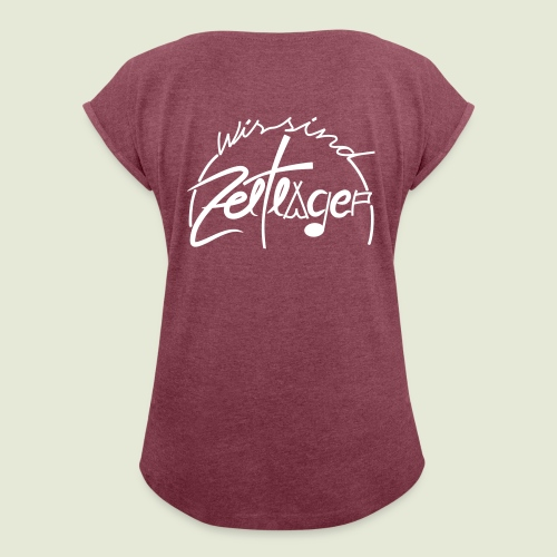 logo halbkreis - Frauen T-Shirt mit gerollten Ärmeln