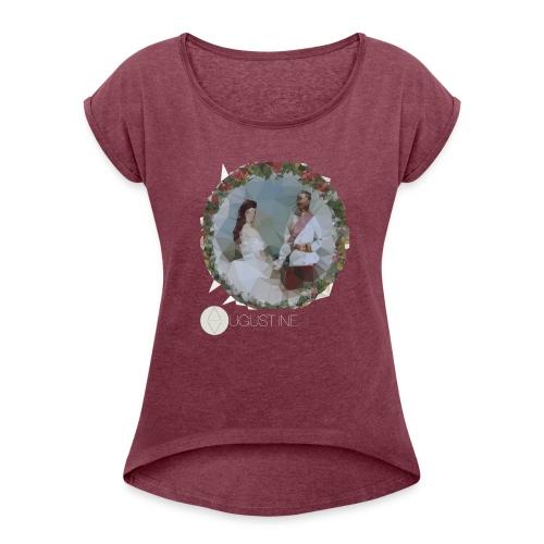Franz und Sissi weiß - Frauen T-Shirt mit gerollten Ärmeln