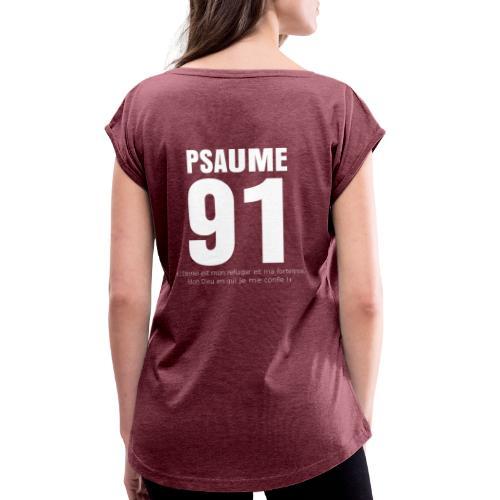 Psaume 91 eternel mon refuge en blanc - T-shirt à manches retroussées Femme
