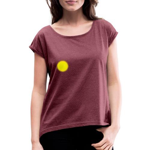 Sonne - Frauen T-Shirt mit gerollten Ärmeln