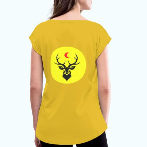 Hipster deer - Women's T-Shirt with rolled up sleeves