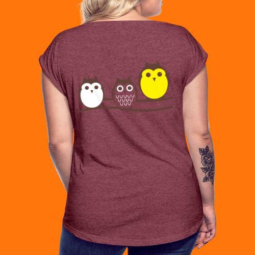 drei süsse Eulen - Frauen T-Shirt mit gerollten Ärmeln