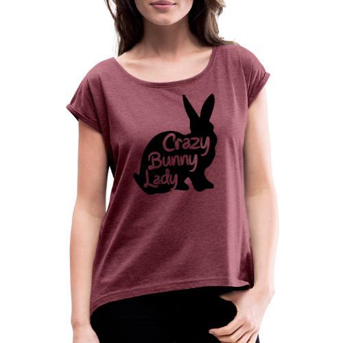 Crazy Bunny Lady - T-shirt med upprullade ärmar dam