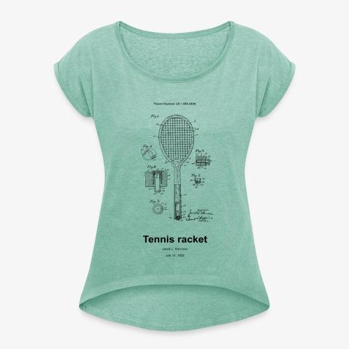 Tennis racket - Frauen T-Shirt mit gerollten Ärmeln