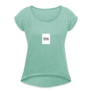 large - T-shirt med upprullade ärmar dam