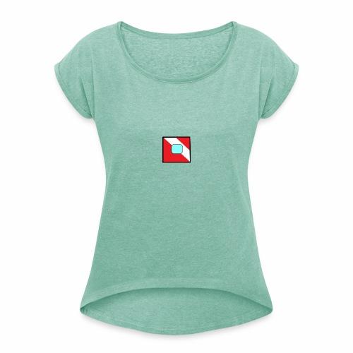 logo test - T-shirt à manches retroussées Femme