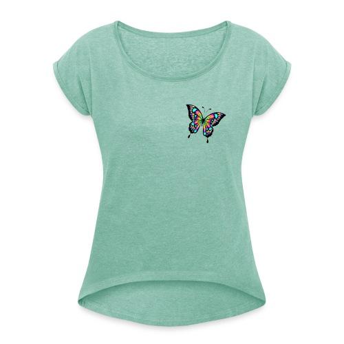 RegenbogenSchmetterling - Frauen T-Shirt mit gerollten Ärmeln