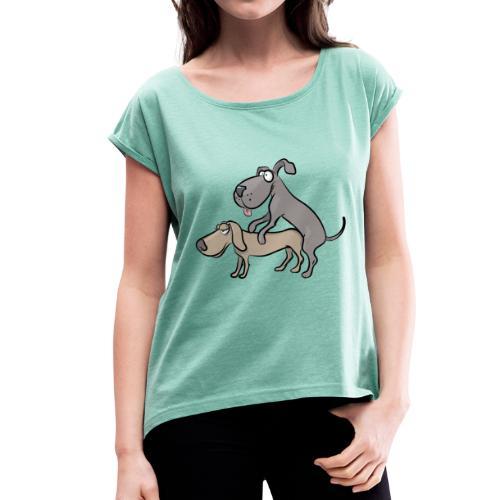 Un couple de chiens en train de faire l'amour - T-shirt à manches retroussées Femme