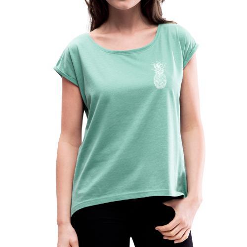 Vintage Pineapple Withe Small - Frauen T-Shirt mit gerollten Ärmeln