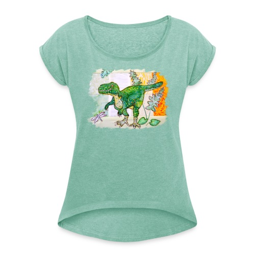 T rex - Women's T-shirt with rolled up sleeves